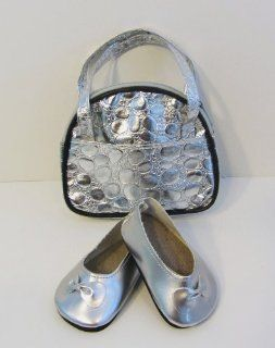 Silver Doll Shoes Flats & Bag fits 18 Inch American Girl Dolls Toys & Games