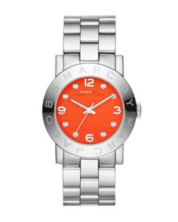 36mm Amy Crystal Analog Watch with Bracelet Strap, Stainless/Red   MARC by Marc