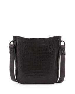 Crocodile Crossbody Bag, Black   Nancy Gonzalez