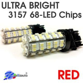 YupBizauto Brand Pair of 3157 High Bright Red Color 68Chips Dual Filament Super Bright LED Light Bulbs 5W, Turn Signal Light, Corner Light, Stop Light, Parking Light, Side Marker Light, Tail Light, and Backup Lights: Automotive