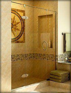 Basco Preceria Frameless Shower Door BASCO 1926 1927, Clear Glass, Silver   Interior Doors
