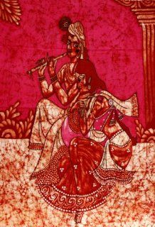 "Hindu God Lord Krishna & Goddess Radha Indian Batik Tapestry Fabric Wall Decor Hanging 44"" X 32"" : Everything Else"