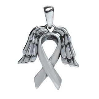 925 Sterling Silver Angel Wing & Breast Cancer Ribbon Pendant: Jewelry