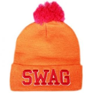 City Hunter Sk961 Swag Neon Beanie Pom Hat (Neon Orange) at  Men�s Clothing store