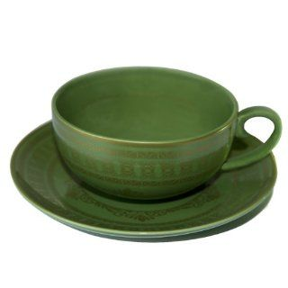 """Pack of 4 Teaveda """"Pitta"""" Green and Gold Porcelain Tea Cup and Saucer Sets 6oz. Teacup With Saucer Kitchen & Dining"""