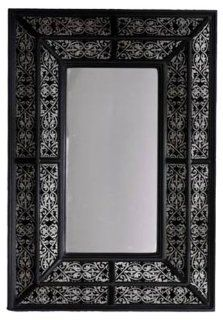 Zodax Modern Morocco Wood Rectangular Wall Mirror, Black with silver   Wall Mounted Mirrors
