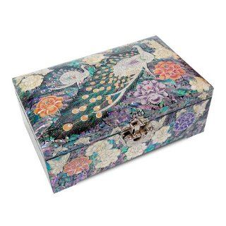 Luxury Jewellery Box, Mother of Pearl Wooden Trinket Box, Handmade Oriental Gift. Peacock and Peony   Decorative Boxes