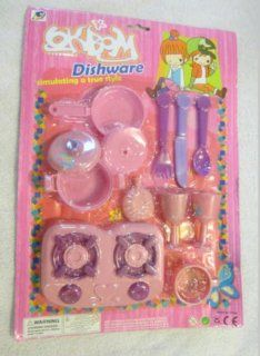 12 Piece Pink Purple Cooking Play Set Includes Spoons Pots Stove Top and More: Toys & Games