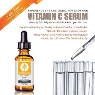 OZ Naturals   THE BEST Vitamin C Serum For Your Face Contains 20% Vitamin C + Amino Complex + Hyaluronic Acid Serum  Potent 20% Vitamin C with Vegan Hyaluronic Acid Leaves Your Skin Radiant & More Youthful By Neutralizing Free Radicals. This Anti Aging