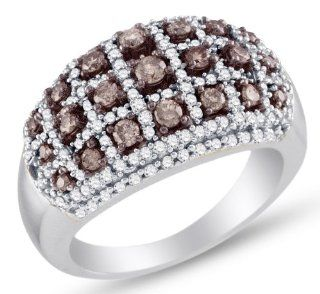 10K White Gold Prong Set Round Brilliant Cut Chocolate Brown and White Diamond Ladies Womens Fashion, Wedding Ring OR Anniversary Band (1.00 cttw.): Jewelry