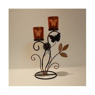 Special promotions European classical flowers butterfly shaped wrought iron glass candle holder ornaments new home decorations