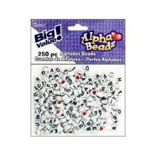 Darice 0791 16 250 Piece Heart Shaped Alpha Beads, 7mm