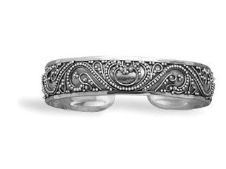 2548 Cuff with Bead Filigree Design 15mm sterling silver beaded bali style cuff bracelet. .925 Sterling Silver bracelet circle stone precious metal girl woman lady arm hand beuatiful gift present stars