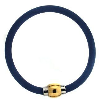Silcone Rubber Bracelet Wristband Magnetic Stainless Steel 8.5 inches Blue Bucasi SALE Jewelry