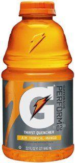 Gatorade Sports Drink, AM Tropical Mango, 32 Ounce Bottles (Pack of 12)  Grocery & Gourmet Food