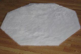 Flokati Faux Fur Rugs 3' Octogon (WHITE)   Machine Made Rugs