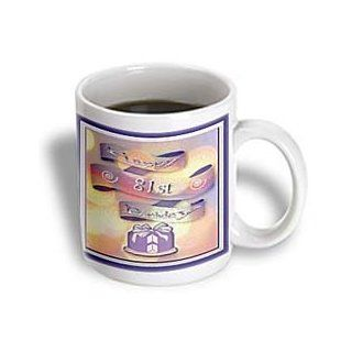 3dRose Ribbon and Cake Happy 81st Birthday Ceramic Mug, 15 Ounce: Kitchen & Dining