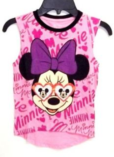 Minnie Mouse Heart Mickey Glasses Girls Pink Tank Top (Girls Extra Large 16) Clothing