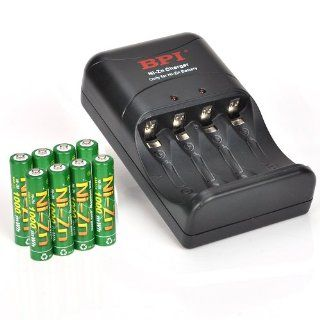 BPI Fast Charger with 8 packs AAA 1.6v 1000mWH High Voltage Rechargeable Batteries (Green) Electronics