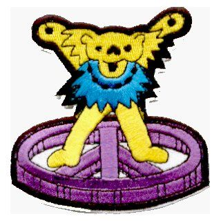 "Grateful Dead   Yellow Jerry Bear / Lt. Blue Necklace / Purple Peace Sign   3""   Embroidered Iron On or Sew On Patch: Clothing"