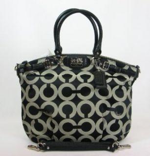 Coach Madison Op Art Sateen Lindsey Convertible Bag 18649 Black White Shoes