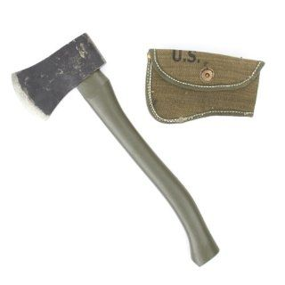Original WWII U.S. Axe Hatchet with New Made Canvas Carrier