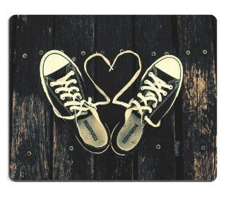Sneakers with Heart Shaped Shoelaces Mouse Pads Customized Made to Order Support Ready 9 7/8 Inch (250mm) X 7 7/8 Inch (200mm) X 1/16 Inch (2mm) High Quality Eco Friendly Cloth with Neoprene Rubber Liil Mouse Pad Desktop Mousepad Laptop Mousepads Comfortab