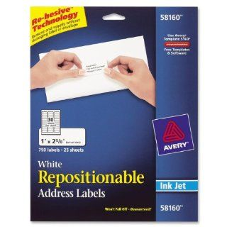 Avery White Repositionable Address Labels for Inkjet Printers, 1 x 2.625 Inches, Box of 750 (58160)