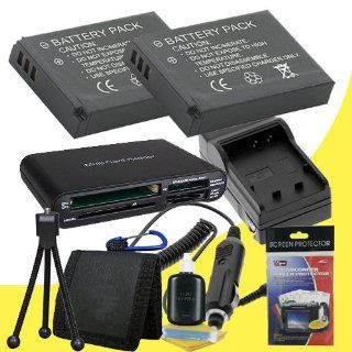TWO LI 42B Lithium Ion Replacement Batteries w/Charger + Memory Card Reader/Wallet + Deluxe Starter Kit for Olympus Stylus Tough TG 310, Tough 3000, Stylus 850, Stylus 5010, Stylus 7030, Stylus 7040, Stylus FE4030, VR310, VR320, VR330 DavisMAX Accessory Bu