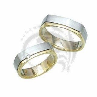 14k White Gold Couples Wedding Rings 05 ct 6 mm: Jewelry