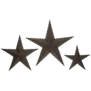 punched bronze metal star wall decor set of 3 wall sculptures