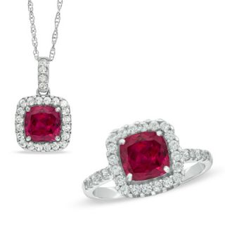 0mm Cushion Cut Lab Created Ruby and White Sapphire Frame Pendant