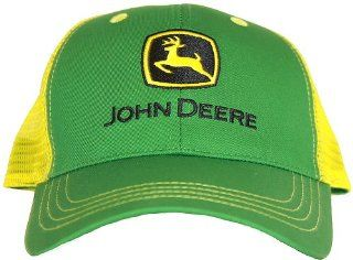 JOHN DEERE GREEN YELLOW TRUCKER HAT CAP MESH FARM ADJ: Sports & Outdoors