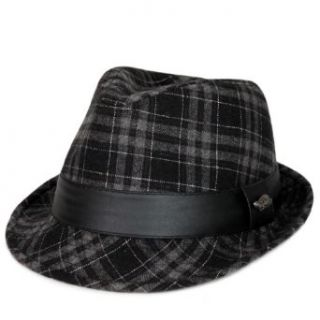 City Hunter Pmt460 Wool Plaid Fedora   Black at  Men�s Clothing store