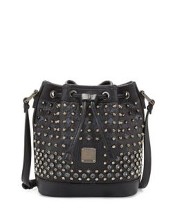 Gold Visetos Mini Drawstring Bag, Black   MCM