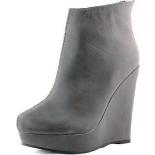 Women's Wedge Boat High Heel Booties Back Zipper Mid Calf Boots Fashion Shoes: Gray Bootie Shoes: Shoes