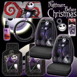 New 9 Pieces Disney Nightmare Before Christmas Jack Skellington Graveyard Car Auto Accessories Interior Combo Kit Gift Set   Front Floor Mats, Seat Covers, Steering Wheel Cover, Large Size Sunshade, Key Chain, Air freshener and Travel Size Purple Slice: Au