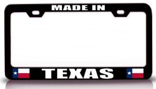 MADE IN TEXAS w/Flag State Flag Steel Metal License Plate Frame Bl # 57 Automotive