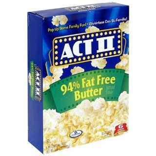 ACT II Popcorn, 94% Fat Free Butter Flavored, 6 Count Boxes (Pack of 6) : Microwave Popcorn : Grocery & Gourmet Food
