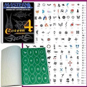 Master Airbrush� Brand Airbrush Tattoo Stencils Set Book #4 Reuseable Tattoo Template Set, Book Contains 160 Unique Stencil Designs, All Patterns Come on High Quality Vinyl Sheets with a Self Adhesive Backing.: