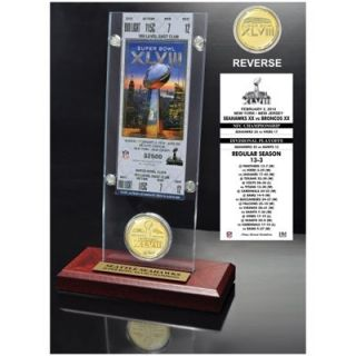 Seattle Seahawks Super Bowl XLVIII Champions Ticket & Game Coin Acrylic Desktop Display