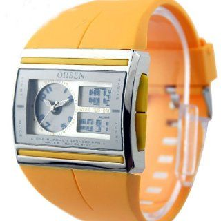 Chic Different Shapes New Experience Watch Unisex Double Movement Dual Display Personality Trend High Quality Rubber Strap WOH0518(Yellow Color): Watches
