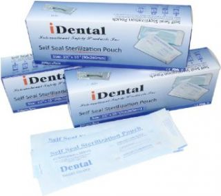 "Sterilization Pouch Dental Products and Supplies   iDental Self Sealing with Triple Sealed Seams and Fluid Resistant Sterilization Pouch 3.5"" X 10"" in Clear Blue Color, Comes in 3200 Pieces per Order: Science Lab Autoclave Accessories: Industrial"