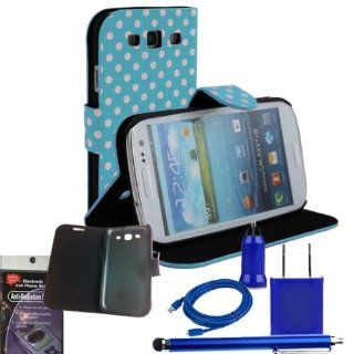 Blue Polka Dot Wallet Stand Case for Samsung Galaxy S3. Comes with USB Car charger, House Charger, 10ft Long Cable, Stylus Pen and Radiation Shield. Cell Phones & Accessories