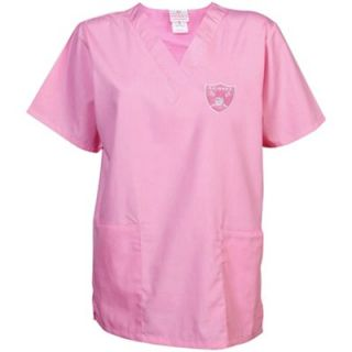 Oakland Raiders Ladies Cancer Care V Neck Scrub Top   Pink