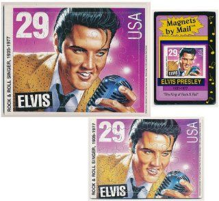 Set of 3 Different Elvis Presley Puzzle and Magnet Post Cards  Blank Postcards