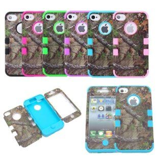 XYUN Triple Layer Hybrid Real Tree Camo Hybrid Hard Case Cover for Iphone 4 4g 4s (ROSE): Cell Phones & Accessories