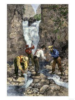 Prospectors Finding Gold in a Stream during the California Gold Rush Giclee Print Art (9 x 12 in)