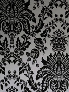 Wallpaper Astek Superfresco Flock Effect Elizabeth Black and White 17153
