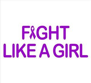 "Fight Like a Girl Saying, Breast Cancer Awareness, Decal Sticker Laptop, Notebook, Window, Car, Bumper, EtcStickers 8""x3""in. in PURPLE Exterior Window Sticker with Free Shipping: Everything Else"